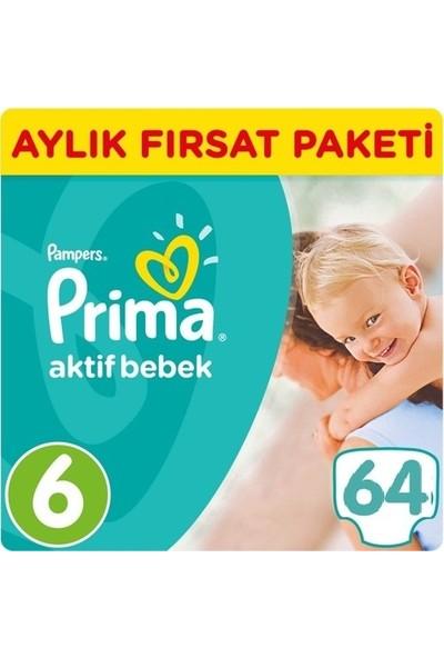 Prima Bebek Bezi Aktif Bebek 6 Beden Ekstra Large Aylık Fırsat Paketi Paket 64 Adet