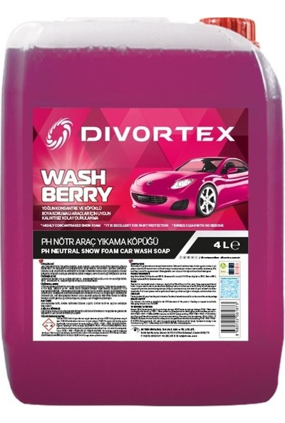 Divortex WashBerry Ph Nötr Oto Şampuanı 4 Litre