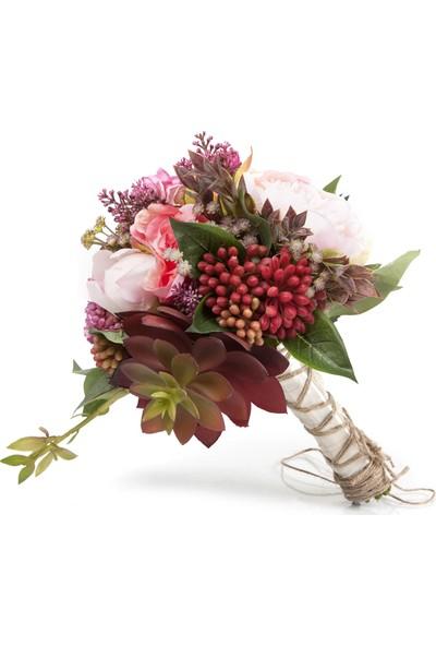 Elit Pembe Çiçek & Sukulent El Çiçeği