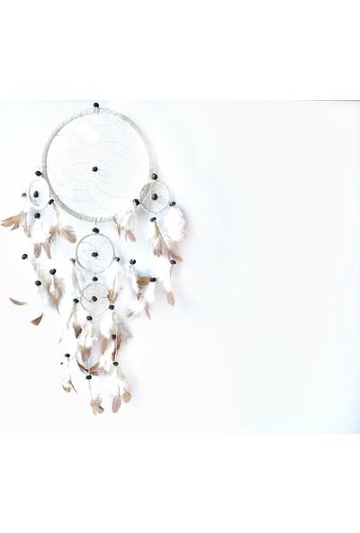 Miamantra Üç Gözlü Beyaz Rüya Kapanı / Dreamcatcher 16,5 cm çap