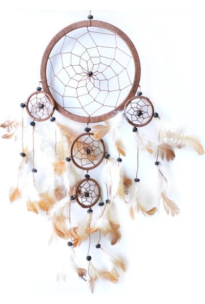 Miamantra Üç Gözlü Kahverengi Rüya Kapanı / Dreamcatcher 16,5 cm çap