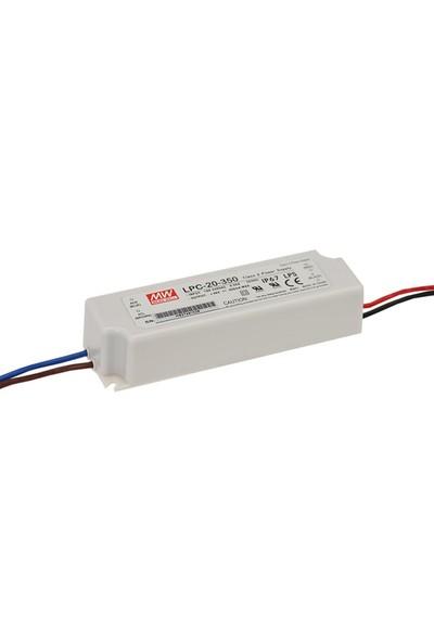 Meanwell LPC 20 350 9 48 Volt 350 mA IP67 Adaptör