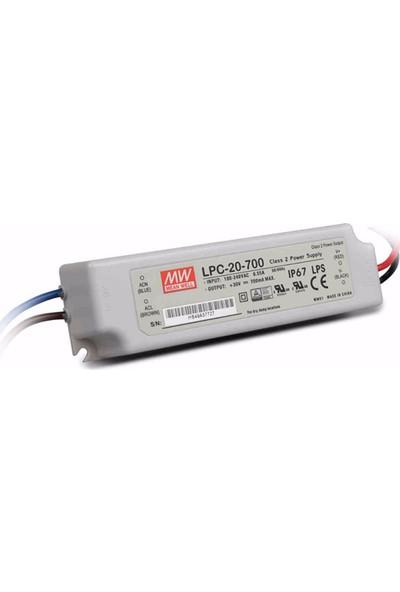 Meanwell LPC 20 700 9 30 Volt 700 mA IP67 Adaptör