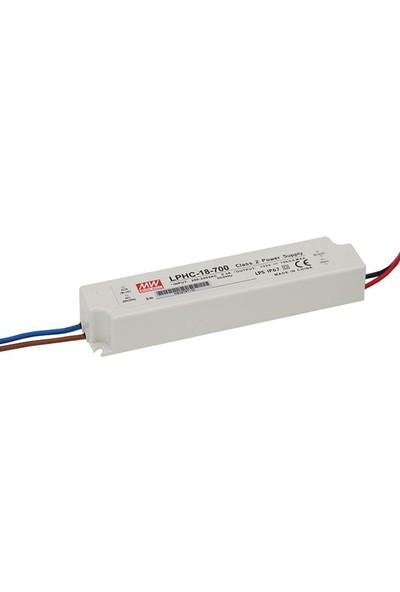 Meanwell LPHC 18 700 6 25 Volt 700 mA IP67 Adaptör