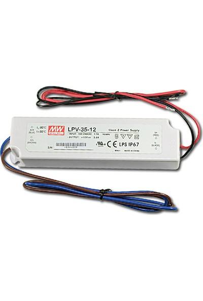 Meanwell LPV 35 12 12 Volt 3 Amper IP67 Adaptör