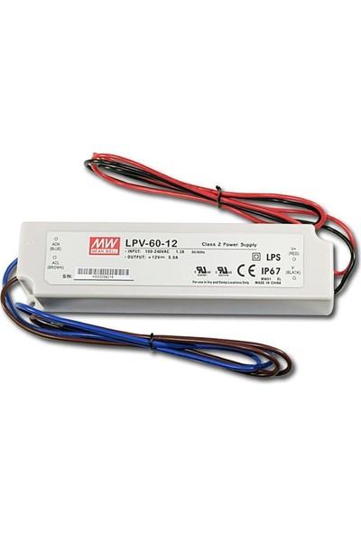 Meanwell LPV 60 12 12 Volt 5 Amper IP67 Adaptör