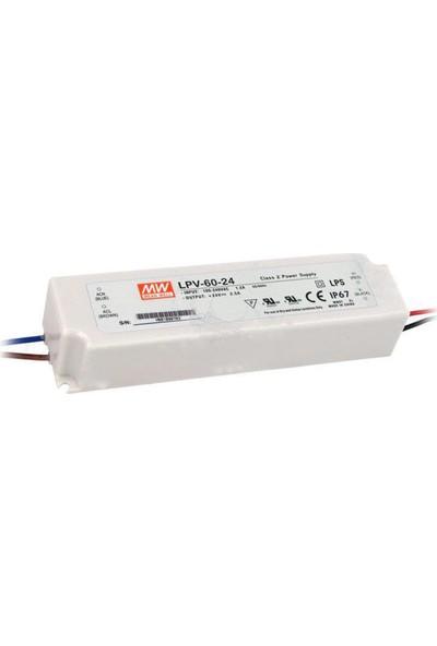 Meanwell LPV 60 24 24 Volt 2.50 Amper IP67 Adaptör