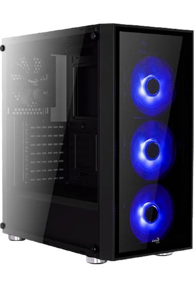 Aerocool Quartz Blue 3xMavi Led Fanlı USB 3.0 Siyah ATX Oyuncu Kasası (AE-QRTZ-BL)