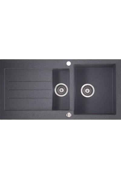 Marmorin Granit Mutfak Evyesi 1.5 Göz Siyah 1000 mm