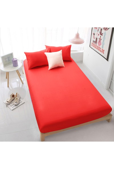 Aqua Home Tek Kişilik Lastikli Çarşaf Seti - Kırmızı 100 x 200