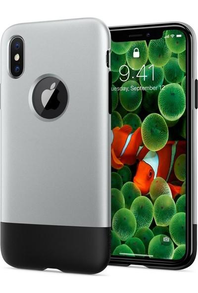 Spigen Apple iPhone X Kılıf Classic One (10.Yıl Özel) Aluminum Gray - 057CS23345