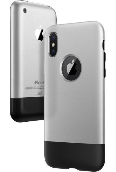 Spigen Apple iPhone XS / iPhone X Kılıf Classic One (10.Yıl Özel) Aluminum Gray - 057CS23345