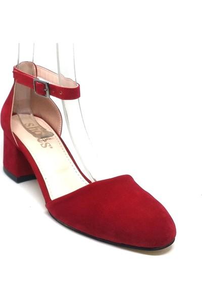 Shop And Shoes 173-314 Kadın Ayakkabı Kırmızı Süet