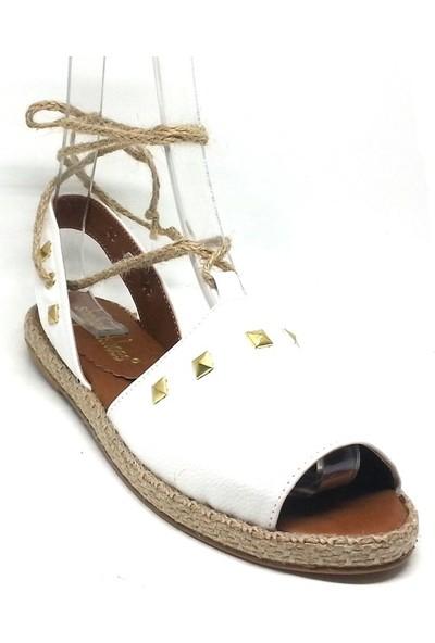 Shop And Shoes 127-819T Kadın Espadril Beyaz