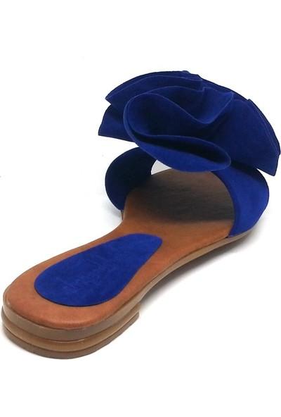Shop And Shoes 173-03 Kadın Terlik Saks Mavi Süet