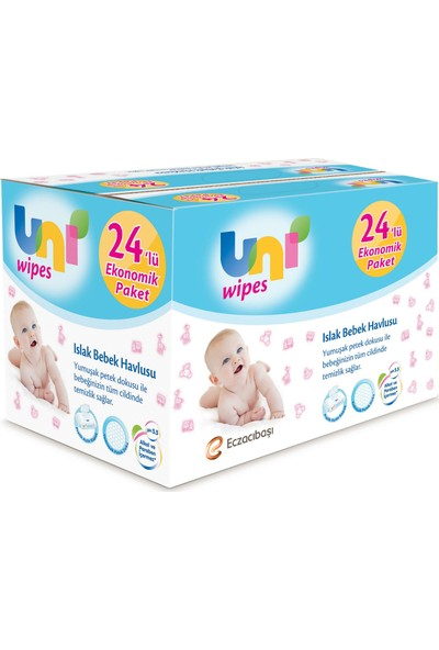 Uni Baby Wipes Islak Havlu 24'lü Fırsat Paketi (64x24) 1.536 Yaprak -64Lü KAPAKLI