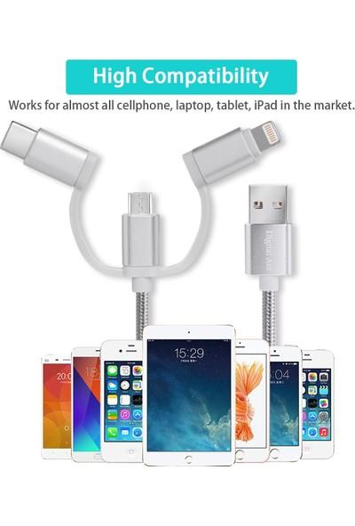 Case 4U 3in1 Lightning + Type-C + Micro USB to USB 2.0 Dayanıklı Naylon Örgü Data ve Şarj Kablosu 1m
