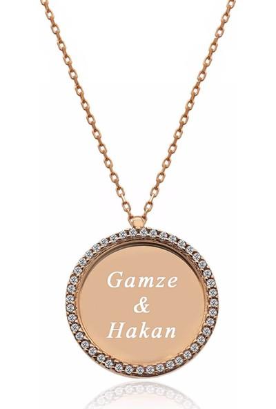 Vella Jewels Gümüş Taşlı Yuvarlak Madalyon Kolye