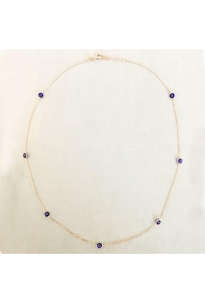 Vella Jewels Gümüş Göz Boncuklu Zincir Kolye 50 Cm