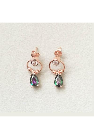 Vella Jewels Gümüş Mistik Damla Taşlı Mini Halka Üzeri Topçuklu Küpe
