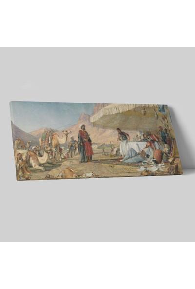 John Frederick Lewis Sina Dağı Çölünde Kamp Kanvas Tablo 50 x 25 cm