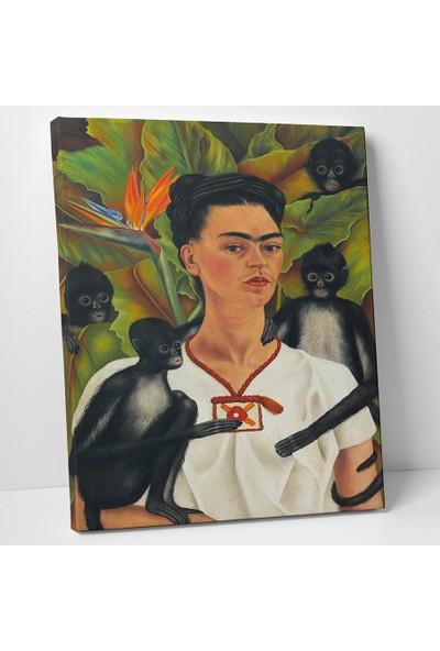 Frida Kahlo Maymun İle Otoportre Kanvas Tablo 20 x 30 cm