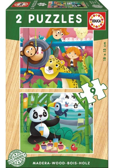 Educa Puzzle Zoo Animals 2 X 9 Parça Ahşap Puzzle