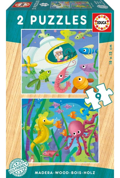 Educa Puzzle Aquatic Animals 2 X 9 Parça Ahşap Puz