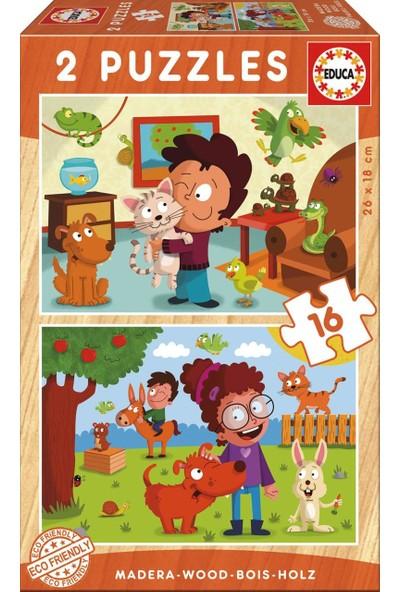 Educa Puzzle Pets 2 X 16 Parça Ahşap Puzzle