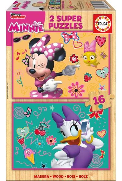 Educa Puzzle Minnie Happy Helpers 2 X 16 Parça Ahşap