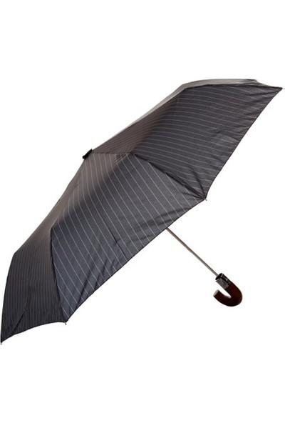 Biggbrella 1088Pc Ahşap Saplı Otomatik Şemsiye Gri Çizgili