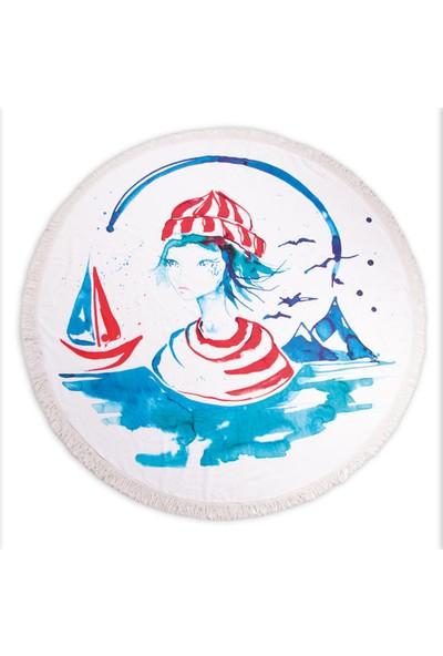 Biggdesign Anemoss Denizci Kız Yuvarlak Plaj Havlusu