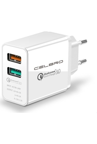 Celbro Qualcomm 3.0 Hızlı Şarj Adaptörü - Çift Çıkışlı