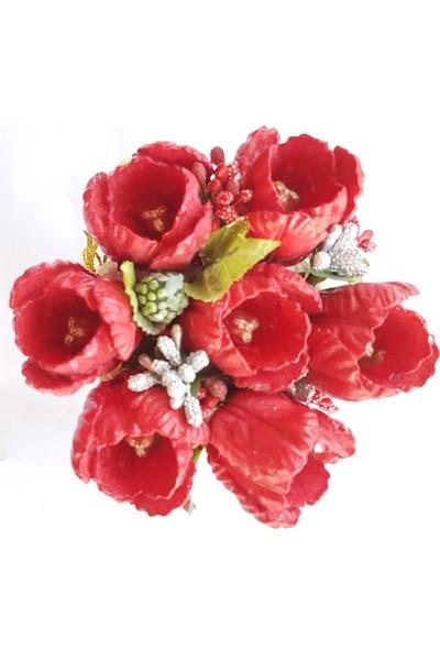 Merland Kırmızı Lale Çiçekli Beyaz Saksı