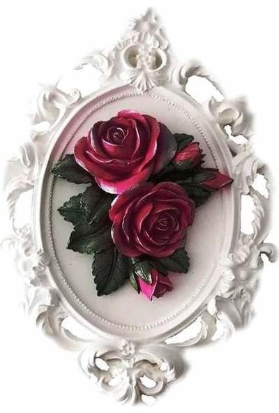 Merland Beyaz Renkli 3D Gül Çiçekli Çerçeve