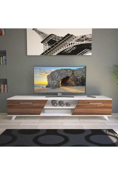 Nur Mobilya 180 cm Rüzgar Tv Sehpası Tv Ünitesi Beyaz-Ceviz