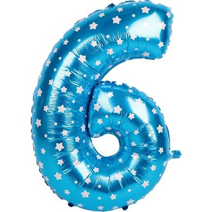 f813d7eba75af PartiBulutu Altı Rakam Mavi Yıldız Folyo Balon 70 cm Fiyatı