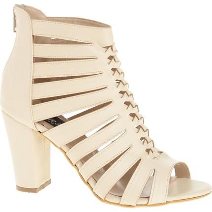 Derigo 20306 Krem Rengi Kadın Topuklu Ayakkabı