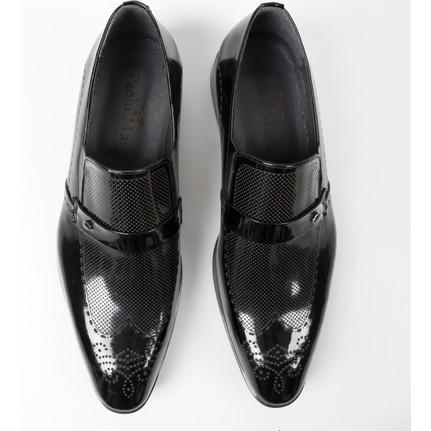 DeepSEA Siyah Lazer İşlemeli Rugan-Deri Klasik Erkek Ayakkabı 1801022