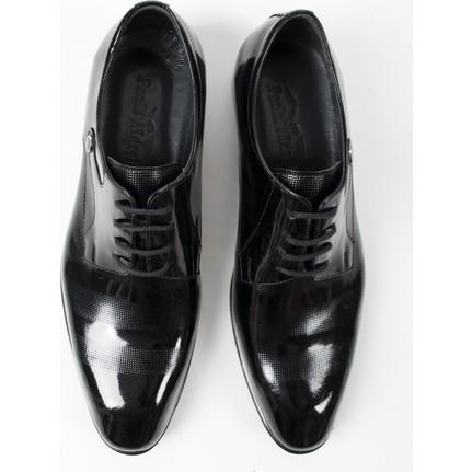DeepSEA Siyah Neolit Taban Üstü Lazer İşlemeli Rugan-Deri Erkek Ayakkabı 1801027