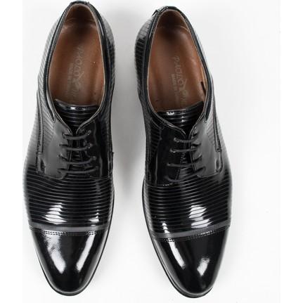 DeepSEA Siyah Üstü Çizgili Bağcıklı Klasik Deri Erkek Ayakkabı 1801029
