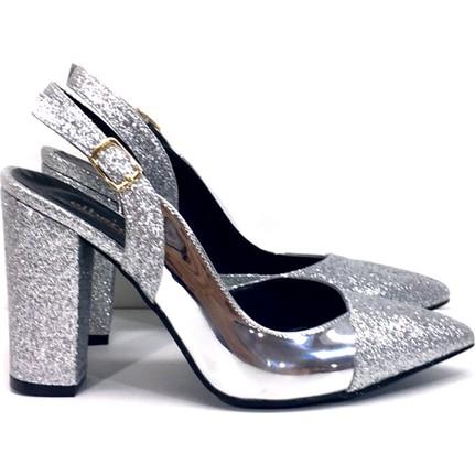 Elexus 5180 Gümüş Ayna Kadın Topuklu Ayakkabı