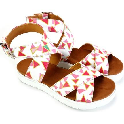 Neefs NSN205 Beyaz Renkli Üçgenler Günlük  Kadın Sandalet