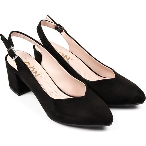 Gön 40701 Siyah Nubuk Kadın Sandalet
