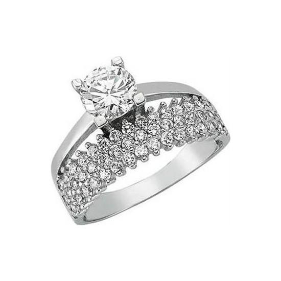 Anı Yüzük 925 Ayar Gümüş Tek Taş Yarım Tur Kadın Yüzüğü