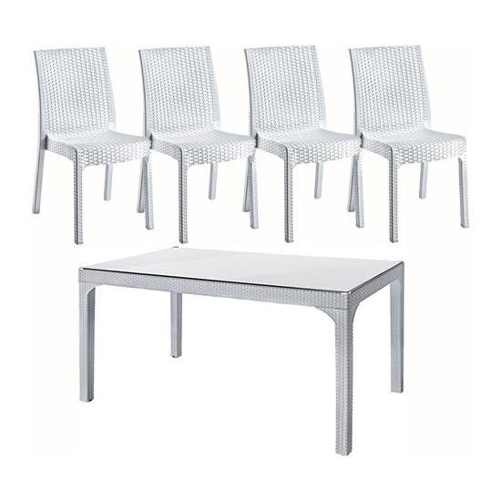 Holiday Plastik Beyaz 80*140 Olympia Rattan Camlı Masa Hm-725 (1) Deluxe Sandalye Hk-710 (4)