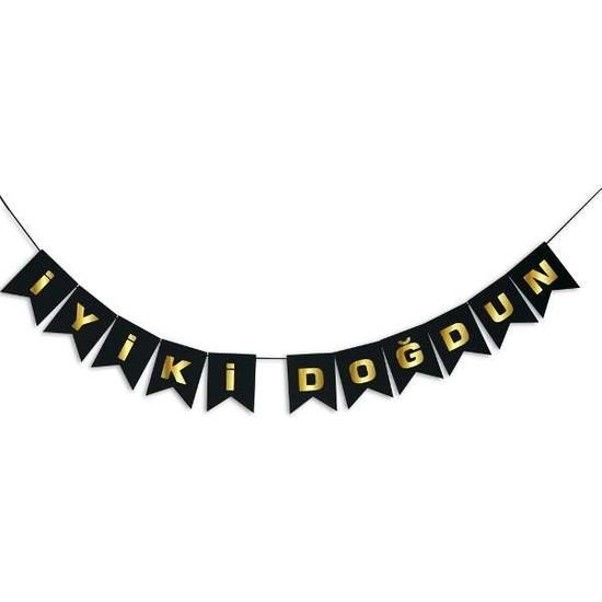 Partimarket İyi Ki Doğdun Bayrak Afiş Siyah Gold