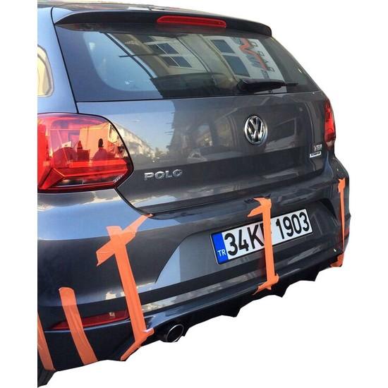 Volkswagen Polo 6R 2015 - 2017 Makyajlı Rieger Arka Tampon Eki - Difüzör (Plastik)