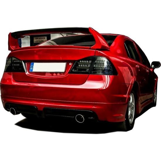 Honda Civic FD6 2006 - 2011 Mugen RR Sağ Sol Çift Çıkış Arka Tampon Eki - Difüzör Plastik)