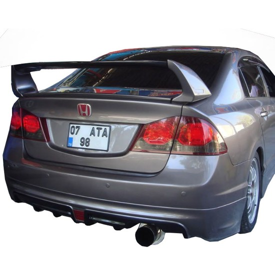 Honda Civic FD6 2006 - 2011 Mugen RR Tek Çıkış Arka Tampon Eki - Difüzör (Plastik)